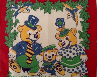 A Vintage Children's Hankie from Goldilocks and The Three Bears Series