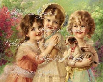 Sisters and Friends LARGE format digital download Victorian image Buy 3 Get one Free