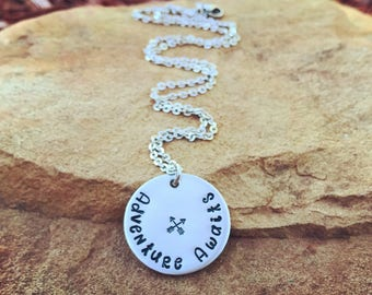Adventure Awaits Charm Necklace | Wanderlust Jewelry | Traveler's Necklace | Gift For Travel Lover | Adventure Lover Jewelry | Gypsy Gift