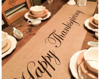 Burlap Table Runner Thanksgiving runner Happy Thanksgiving - Thanksgiving  decorating Holiday decorating Home decor