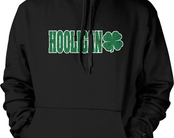 Hooligan, St. Patrick's Day, Four Leaf Clover Hooded Sweatshirt, NOFO_00136