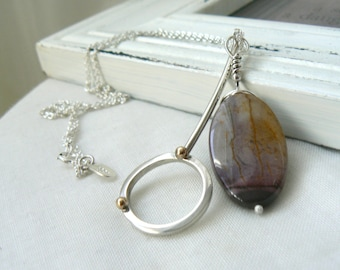 Duet - Sterling Silver Pendants with a Purple and Yellow Mookaite and 10k Yellow Gold - READY TO SHIP
