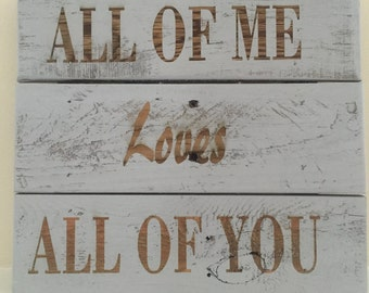 Love quote on pallet board Laser engraved
