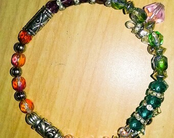 Sparkling, colorful, rainbow crystal wire bracelet.