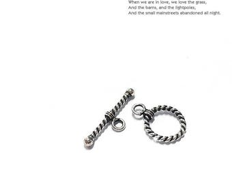 925 Sterling Silver Toggle clasp Silver Oxide(1set/10set)