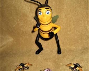 Bee Pins Brooch Rhinestone Enamel 50s 60s Vintage