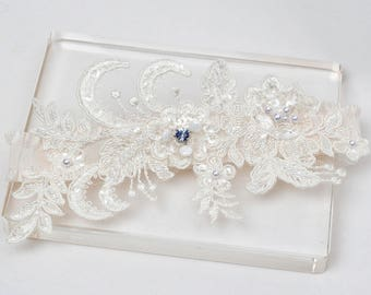 Blue crystal garter, ivory lace garter, Something blue garter, wedding garter, bridal garter, single garter, keepsake garter