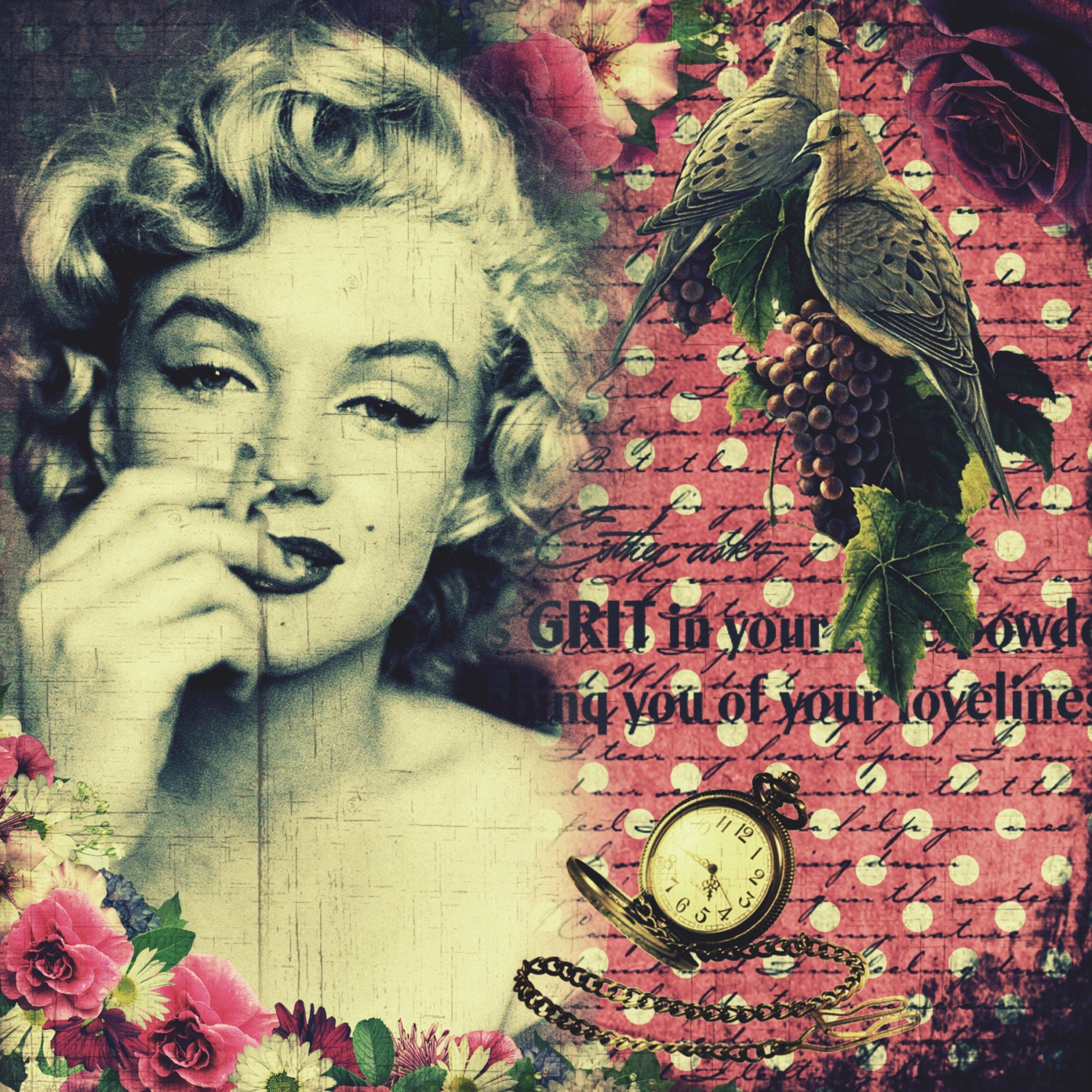 Grit and Smoke - Handmade Marilyn Monroe Fabric Block - Great for ...