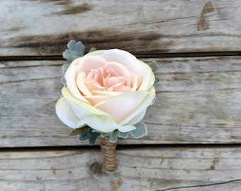 Blush Pink Boutonniere Silk Rose Wedding Pin for Grooms Buttonhole