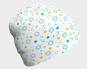 Blue Yellow Star of David Beanie Hat Jewish Baby Women's Children's Men's Jewish Holiday Gift Chanukah Outfit Magen David Israel Passover