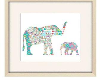 Baby girl nursery decor, elephant nursery art, nursery decor, elephant art, elephant decor, baby nursery art, kids wall art baby shower gift