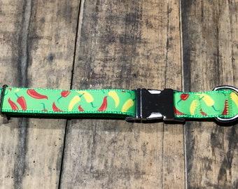 Chili Pepper Dog Collar, Sew Fetch Dog Collar, Dog Collar, Cinco De Mayo Dog Collar, Spicy Dog Collar, Pretty Dog Collar