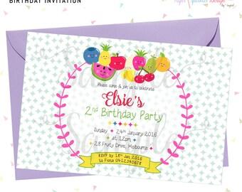 KAWAII FRUIT Birthday Invitation
