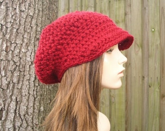 Red Womens Hat Red Newsboy Hat Womens Crochet Hat - Crochet Newsboy Hat Cranberry Red Crochet Hat - Red Hat Red Beanie Womens Accessories