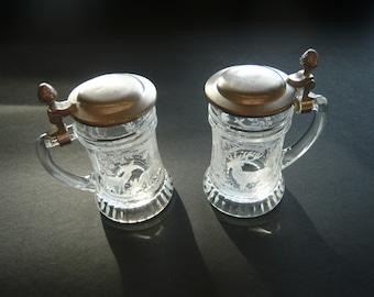 Vintage PAIR Rein Zinn BMF Schnapskrugerl Etched Miniature Beer Steins/Tankard Shot Glasses