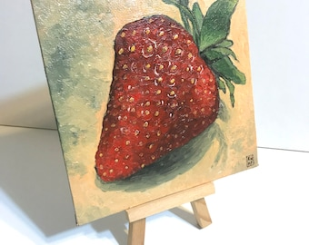 Sweet Summer Berry - miniature painting, mini painting, tiny painting, tiny oil painting, still life painting