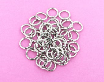 100 Stainless Steel Jump Rings Unsoldered 9mm - SS027