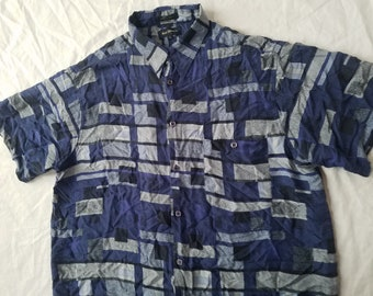 Geometric Purple Blue Silk Short Sleeve Button Down Shirt - Large Mens Marc Edwards