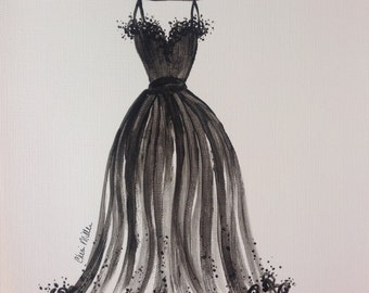 Fashion Illustration, Little Black Dress, Fashion Sketch, Fashion Print, Dress Painting, Party Dress.