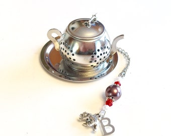 Brown University Tea Infuser with Brown Bear and Letter B Charms, Graduation Gift, Bruins, Beaded Tea Ball, Mad Hatter Tea Party, High Tea