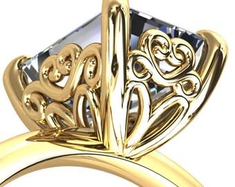 Violette Emerald Moissanite Mustache Heart Scrolls Engagement Ring