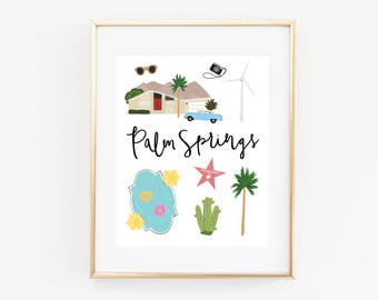 Illustrated Palm Springs Art Print