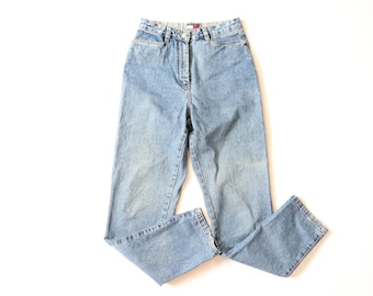 vintage 80s marco polo quality jeans wear checkered shadow plaid high waist tapered denim jeans BNymdjI