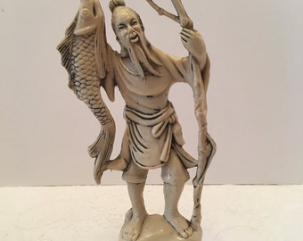 Asian Man Figurine ~ Hong Kong ~ Asian Man with Fish ~ Vintage