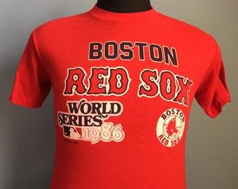 80s Vintage Boston Red Sox World Series 1986 mlb baseball T-Shirt - SMALL