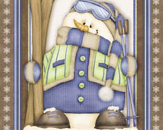 Snow Man Fabric Snow Much Fun Cotton Flannel Panel 25x42 by Shelly Cominsky for Henry Glass