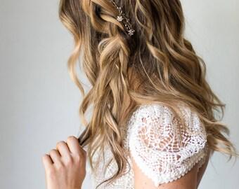 Delicate Hair Vine Delicate Wreath Pearl Hair Vine Pearl Headband Bridal Headband Gold Hair Vine Silver Hair Vine Crystal Hair Vine  #117