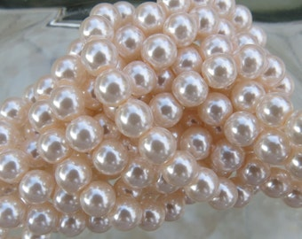 6mm Light Peach Colored Glass Pearl Strand 16in. (i124)