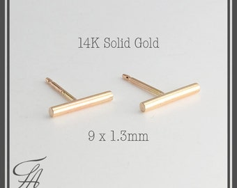 14K Solid Gold Bar Earrings, All Solid Gold Studs, Gold Bar Earrings, Minimalist Earrings Jewelry, Gold Stud, Polka Dot Stud, Tiny Earrings