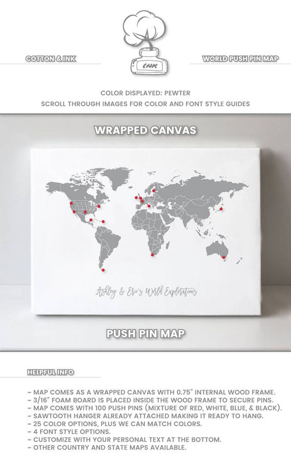 World map on canvas push pin travel gift for men and women gumiabroncs Images