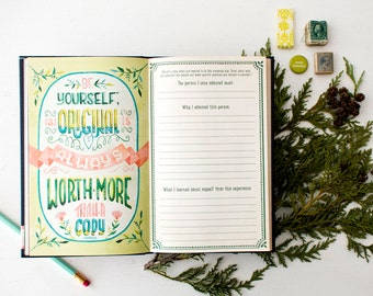 Inspirational Prompt Journal, Watercolor Quote Diary, Gift for Women Under 20, Gift for Best Friend, Girls Guided Journal Stocking Stuffer,