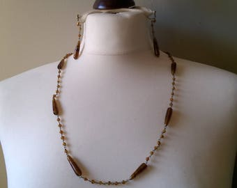 1950s brown bead and chain necklace and earrings set