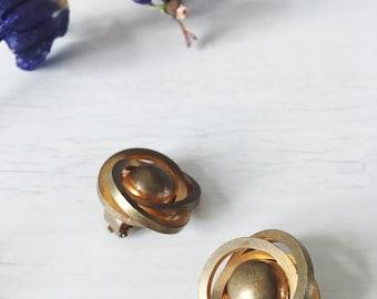 Earrings clip gold vintage 1980