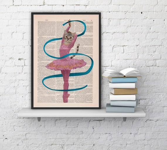 Ballerina cat   Wall decor, Unique Gift  Cat book print  Cute Kitty Cat dancing ballet  Poster Print art ANI063