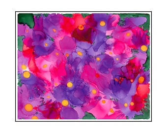 Spring Plunge Pink Purple Flower Abstract Wall Decor Alcohol Ink Painting Limited Edition Giclee Matted Print