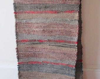"""Table Runner,  Wool and Linen, 64"""" by 12"""" wide,.. Blue,Grey  and Browns, Red   , handwoven at home  by Martha"""