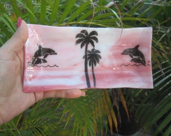 Fused Glass Dolphin and Palm Tree Dish, Sushi Dish, Trinket Dish, Candy Dish, Candle Dish