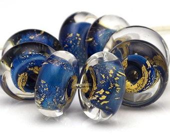 Handmade Lampwork Bead Set Blue and Gold Leaf Rondelles Discs SRA