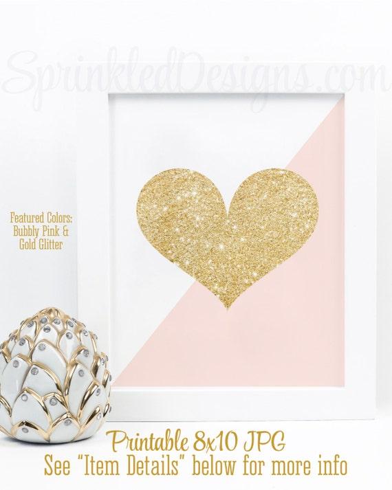 Gold Glitter Heart Print Blush Pink & Gold Glitter Nursery