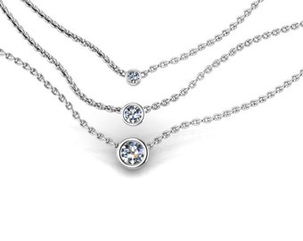 Tiny 14K White Gold Small Diamond Solitare Necklace Diamond Pendant