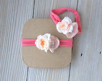 Coral and Blush Pink Newborn Stretch Headband for Baby Girl - Newborn to 3 months - Ready to Ship