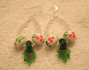 Green and Red Holly Lamp-work Glass Bead Holiday Beaded Dangle Earrings