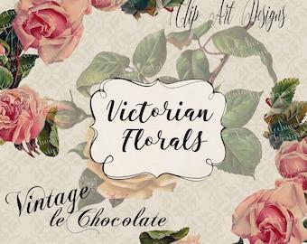 Floral Clip-art, Vintage Clip-art, Rose Clip-art, Victorian Roses, Pink Roses, Pre-made Rose Clip-art. No. E43