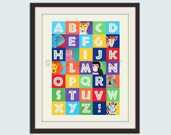 Alphabet art for nursery, ABC print, childrens art, safari nursery art. Jungle ABC nursery decor. Alphabet print ABC safari print by WallFry