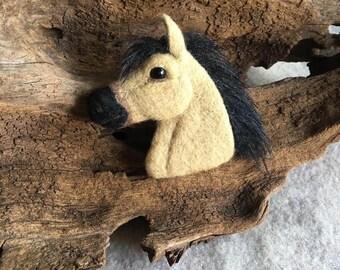 Needle felted buckskin horse brooch