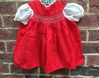 Vintage Girls 12- 18 month red smocked dress